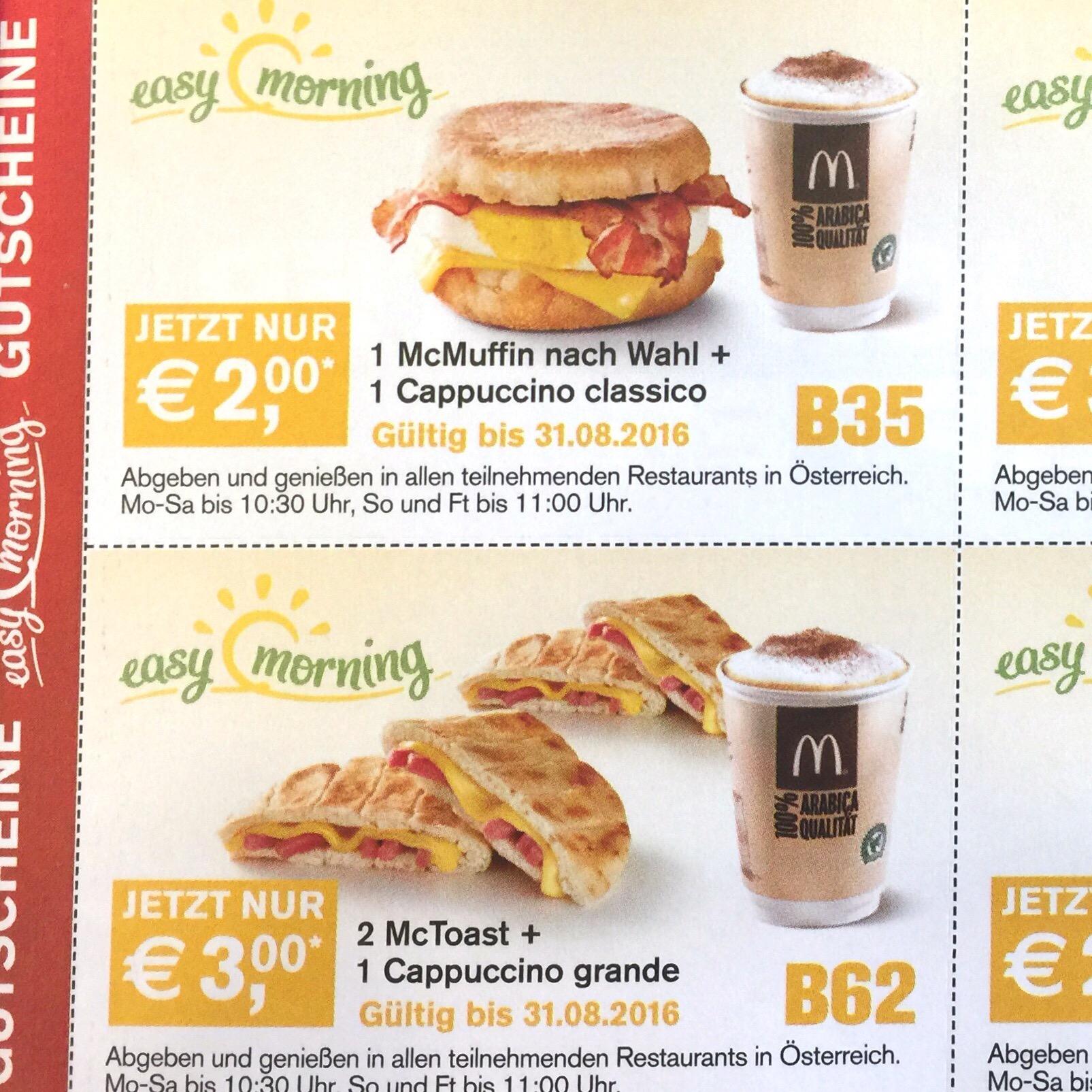 Neue McDonald's Easy Morning und McCafé Gutscheine (nur in einigen Filialen?)