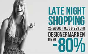 Designer Outlet Parndorf – Late Night Shopping am 25. August 2016 – bis zu 80% Rabatt
