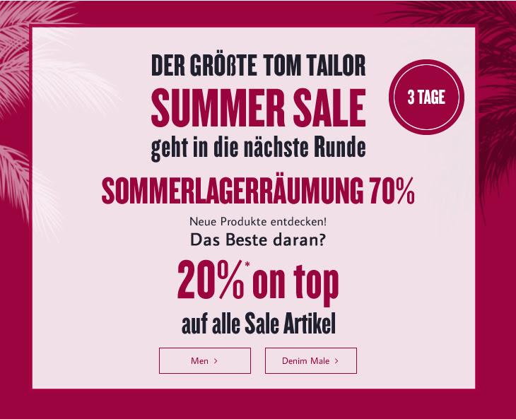 Tom Tailor: 20% Extra-Rabatt auf reduzierte Artikel - nur bis zum 11. August