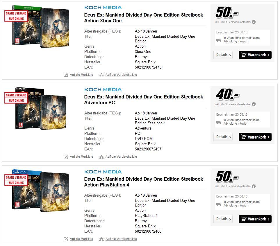 Deus Ex: Mankind Divided Day One Edition Steelbook Action  Vorbestellung PC\XB1\PS4