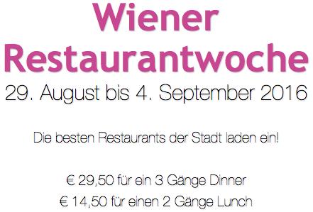Wiener Restaurantwoche - Top-Restaurants zu Top-Preisen - 29.8.-4.9.2016