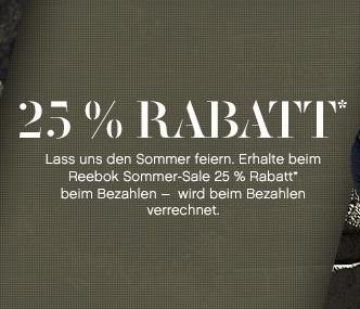 Reebok: 25% Rabatt auf ausgewählte Produkte + Outlet - nur bis zum 4. September