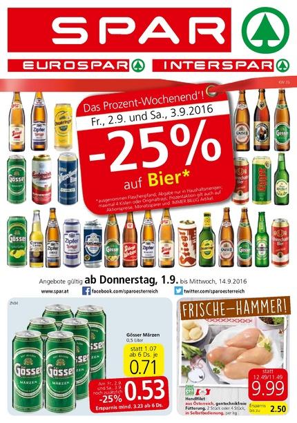 -25% auf Bier am 02. und 03.09. bei Spar