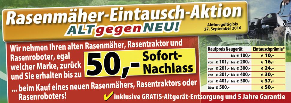 [Bauhaus] Alt gegen Neu Rasenmäheraktion - bis zu 50€ sparen