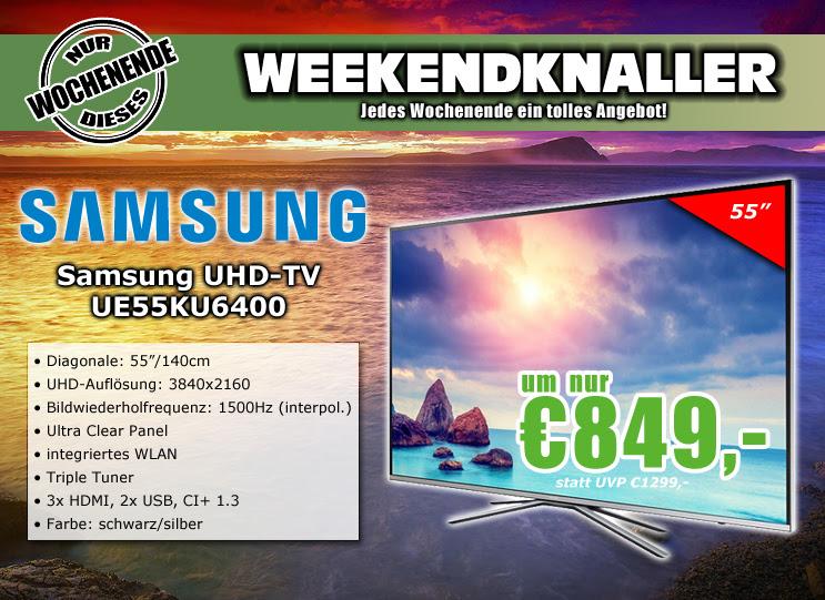 0815.at: Samsung UE55KU6400UXZG 55 Zoll UHD HDR TV für 849€
