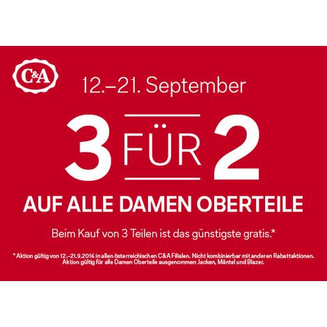 C&A: 3 für 2 auf alle Damen-Oberteile - nur bis zum 21. September