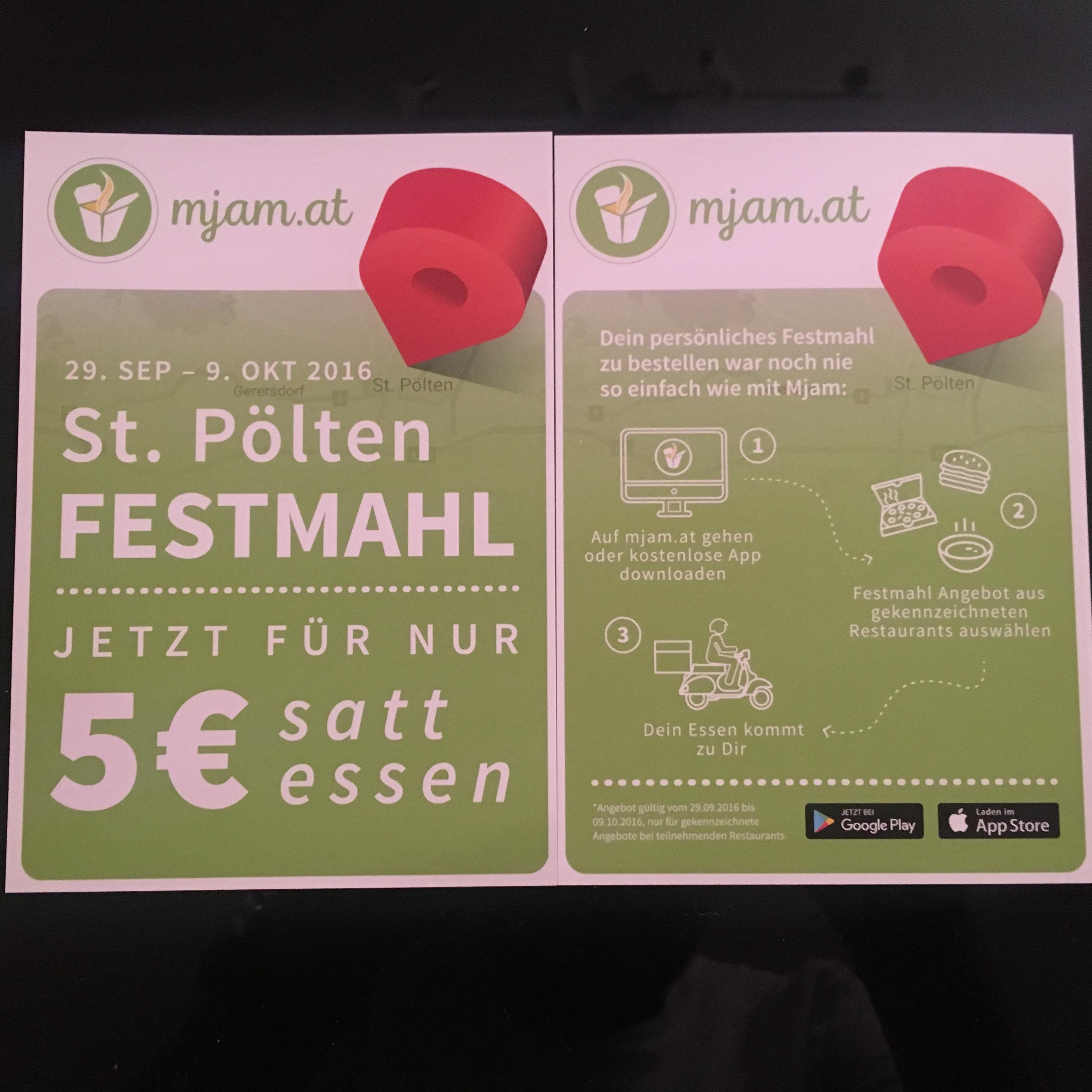 [mjam] St. Pölten Festmahl. Jetzt für nur 5€ satt essen. 5€ MBW. Gültig vom 29.09. - 09.10.2016