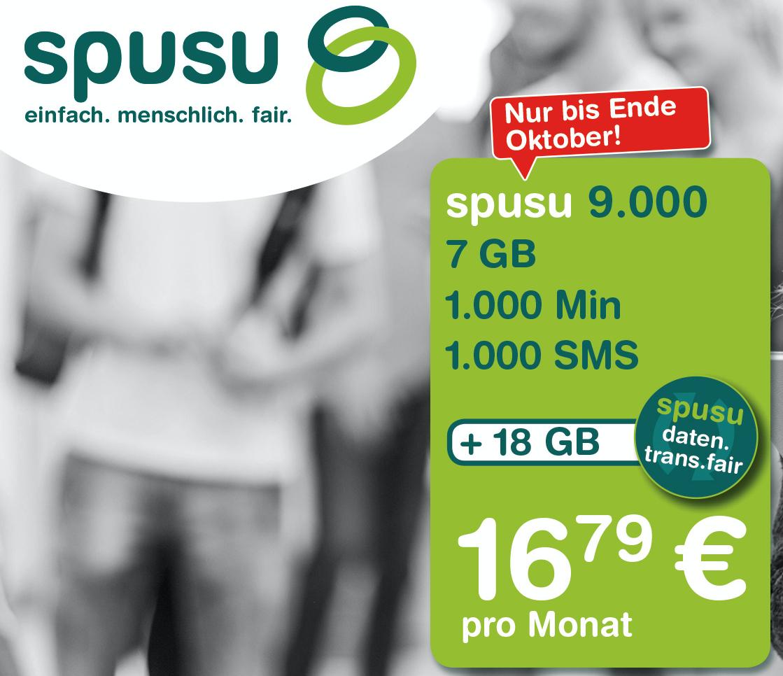 "Neuer Tarif ""Spusu 9000"": 7000 MB, 1000 Min, 1000 SMS + 18GB um 16,79 €"