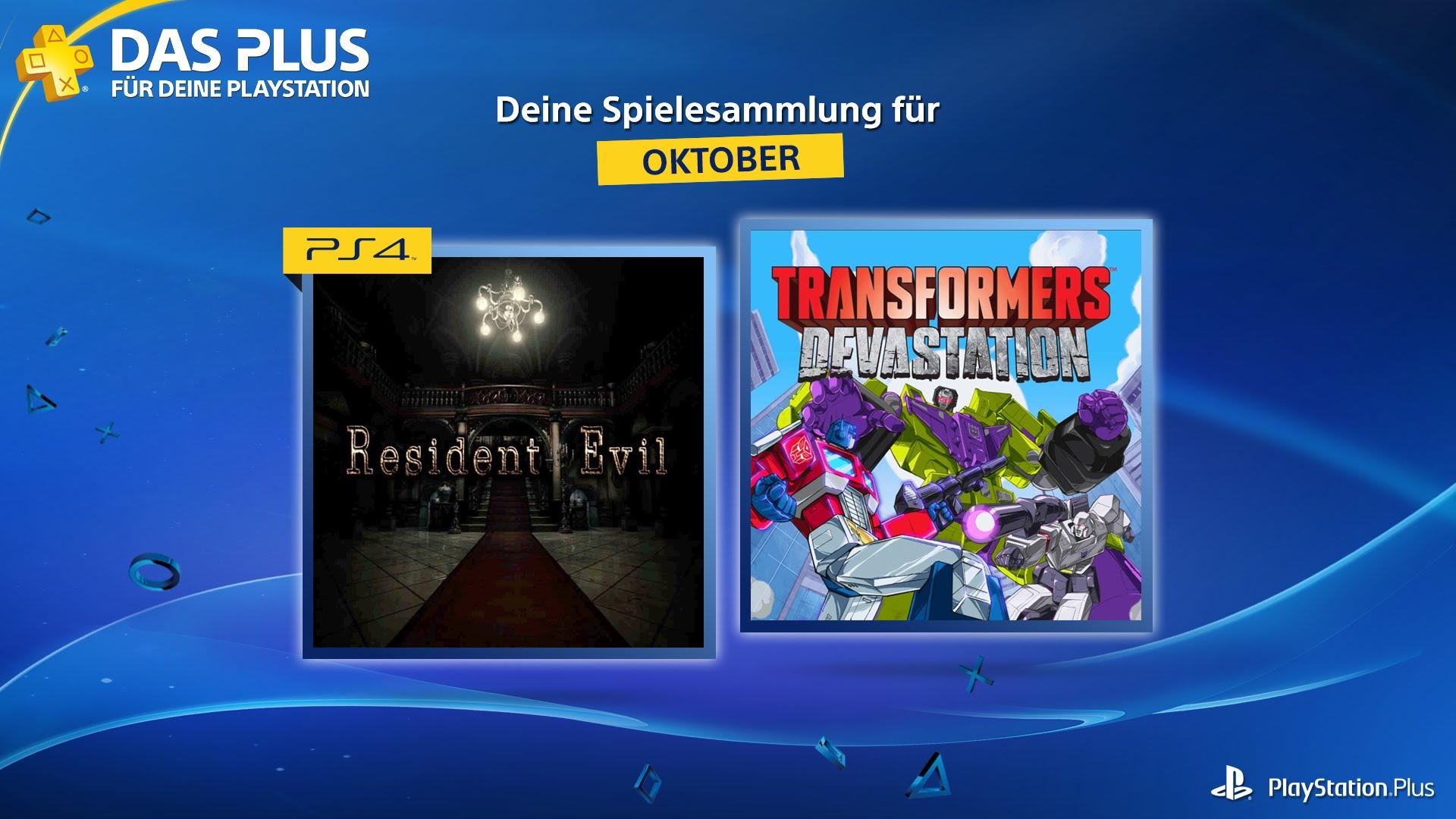 [INFO] Neue PS+ Titel ab 4. Oktober - u.a Resident Evil, Transformers: Devastation