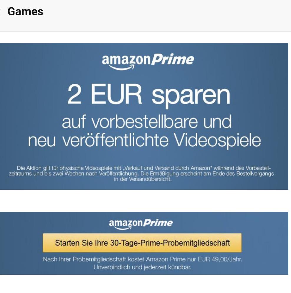 2€ Exklusiv-Rabatt auf Videospiele für Prime-Kunden