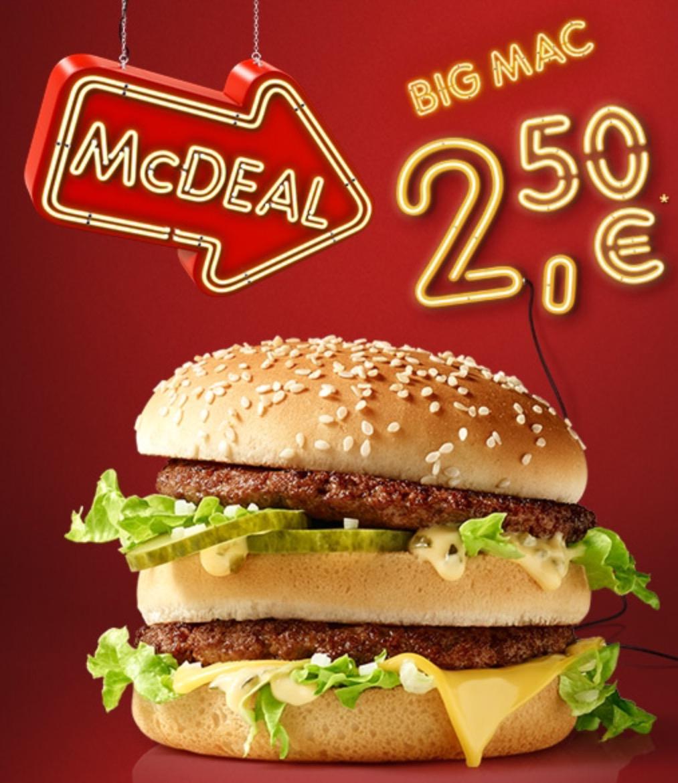 """McDonald's """"McDeal"""": BigMac um 2,50 € - bis 31.10.2016"""