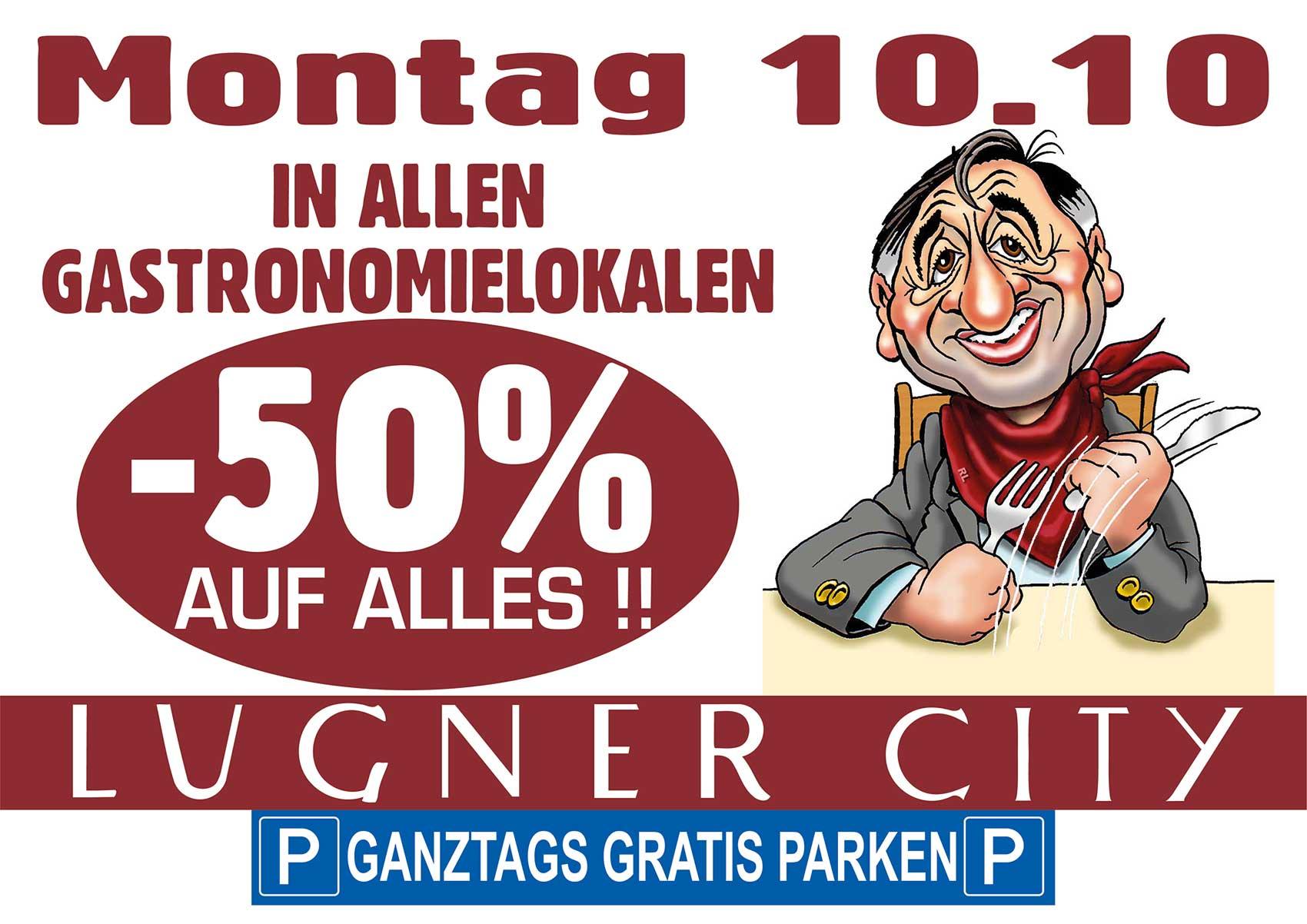 Lugner City: 50% Rabatt in allen Gastronomielokalen – nur am 10. Oktober