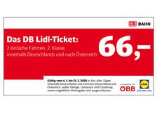 DB Lidl-Ticket für 66€ - 2 einfache Bahnfahrten innerhalb Deutschlands und nach Österreich