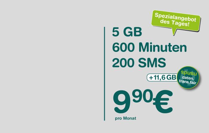 Spusu 5800 - 5 GB - 600 Minuten - 200 SMS für €9,90/Monat