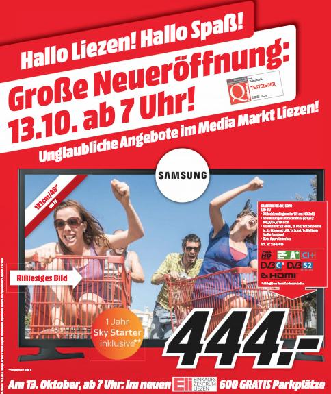 Media Markt Liezen Neueröffnung am 13. Oktober mit vielen Eröffnungsangeboten