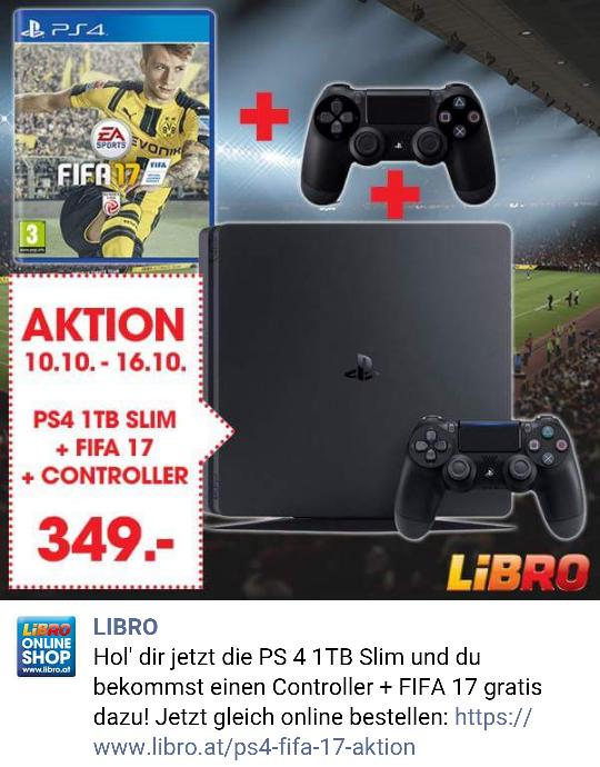 PS4 1TB + FIFA17 + extra Controller