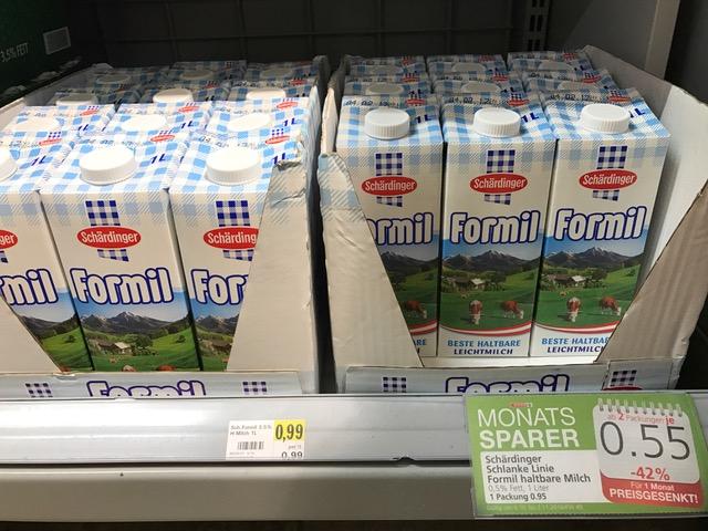 """Spar: Schärdinger """"Formil"""" Haltbar-Leichtmilch um 0,55 € - 42% sparen"""