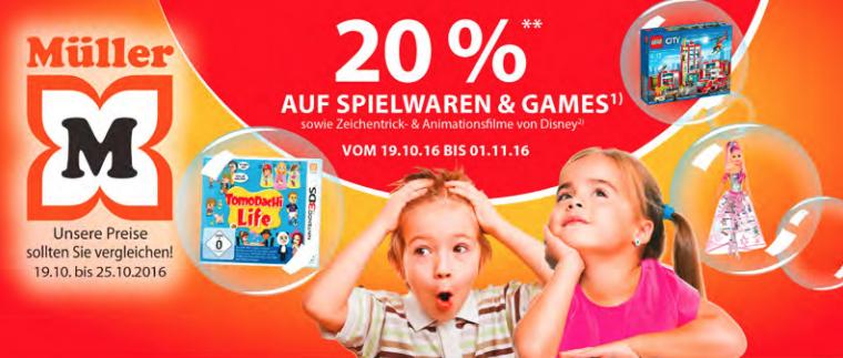 Müller: 20% Rabatt auf Spielwaren und Games - vom 19. bis zum 31. Oktober