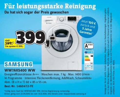 Samsung ADD wash Waschmaschine WW7AK5400WW um 299 statt 522 (Bestpreis 498)