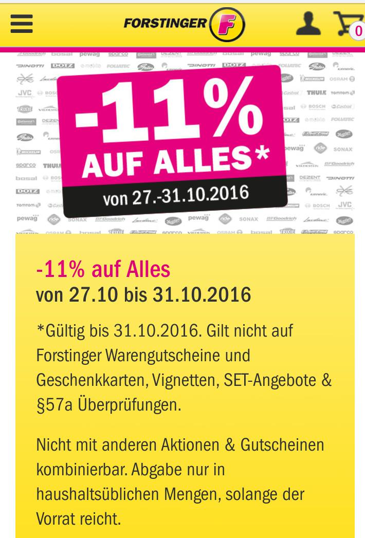 -11% auf alles beim Forstinger
