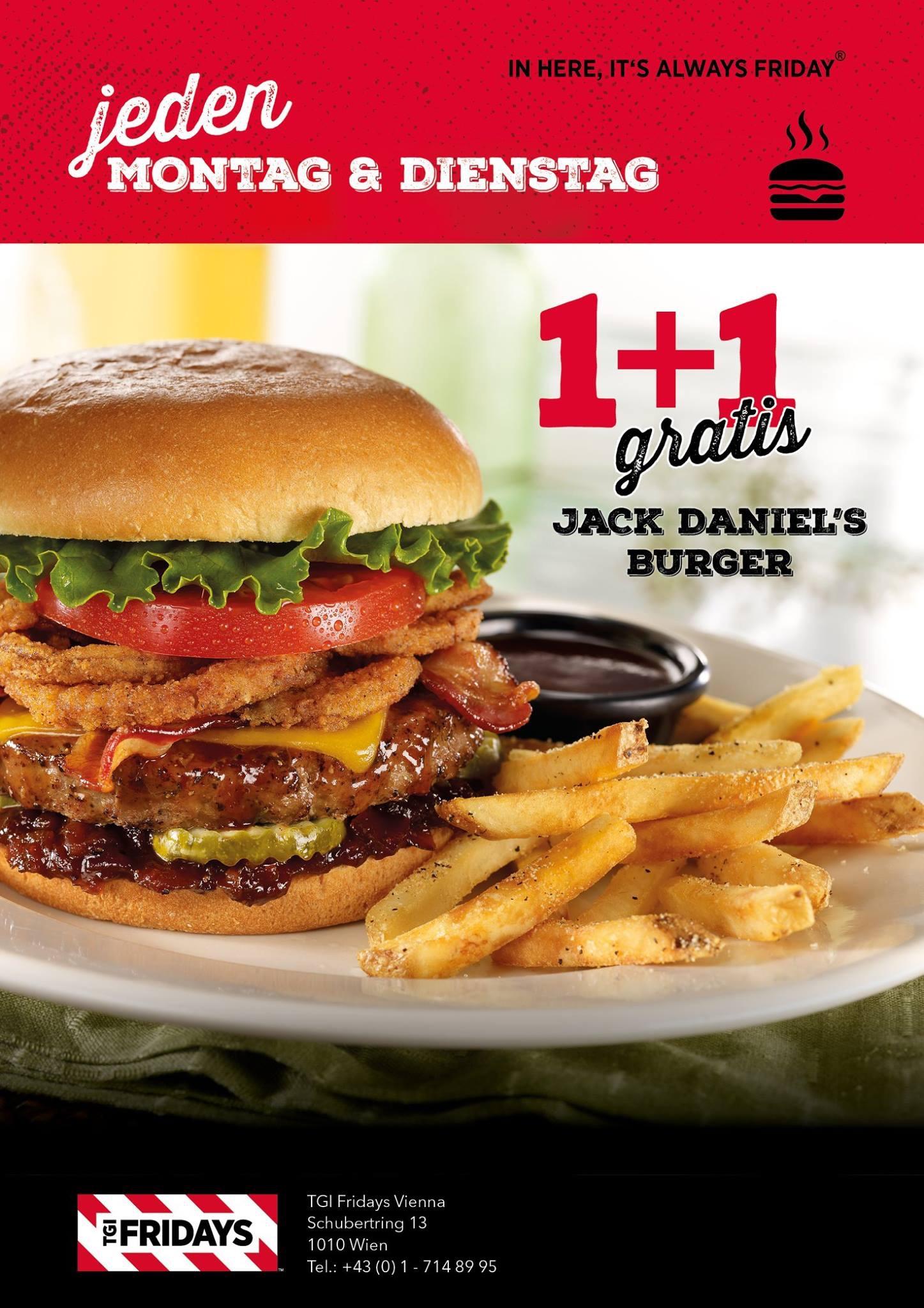 "TGI Fridays Wien: 1+1 Gratis ""Jack Daniels"" Burger (jeden MO+DI)"