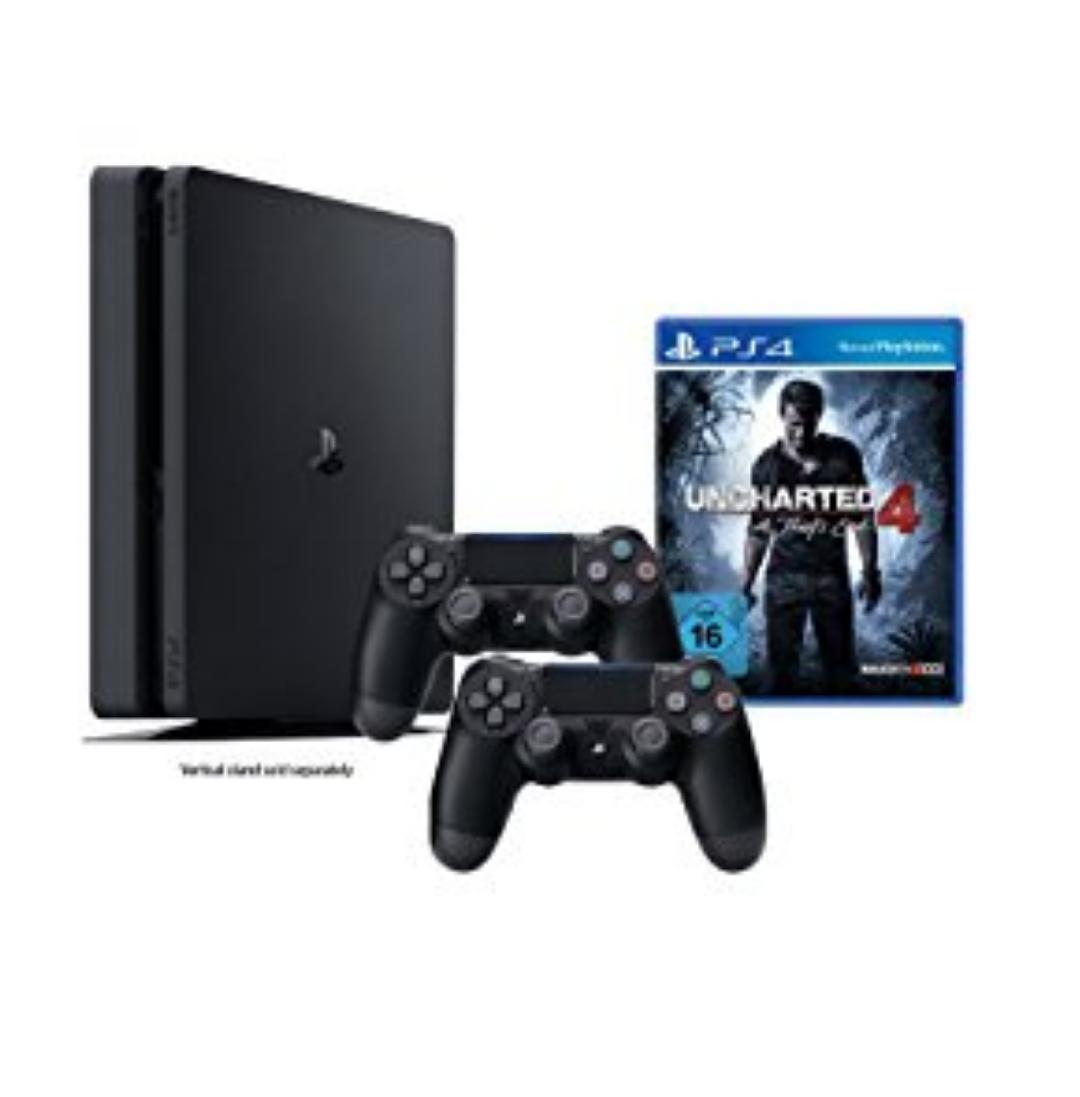 PlayStation 4 inkl. Uncharted 4 + 2 DualShock 4 Controller für 301€ @Amazon
