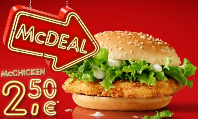 "McDonald's ""McDeal"": McChicken (Veggie) um 2,50 € - bis 30.11.2016"