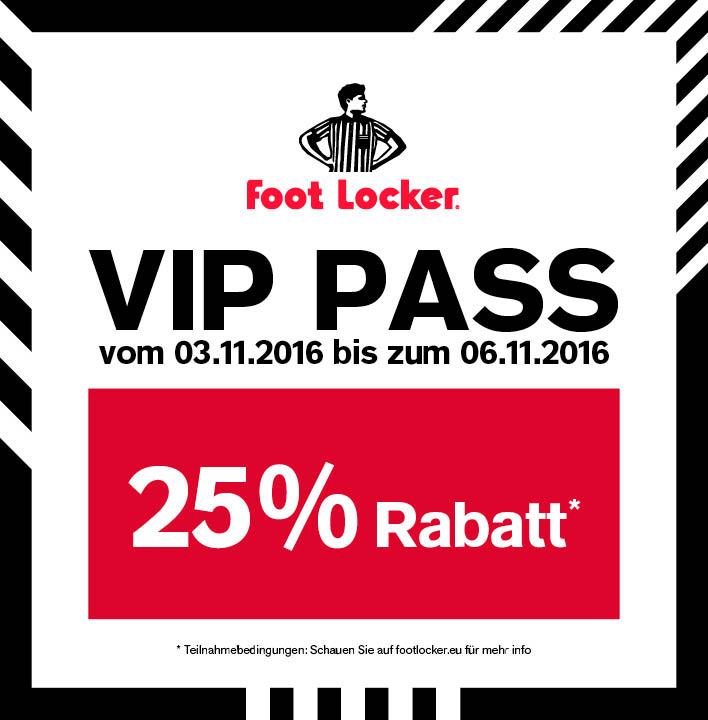 Foot Locker: 25% Rabatt auf den kompletten Einkauf - nur bis zum 6. November