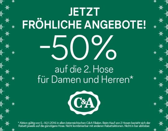 C&A: 50% Rabatt auf die 2. Hose - bis zum 16. November