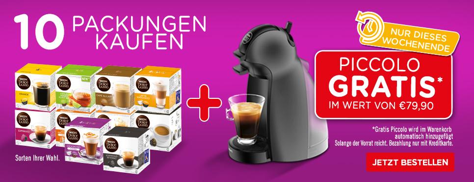 Dolce Gusto Kaffeemaschine gratis bei Kauf von 10 Packungen