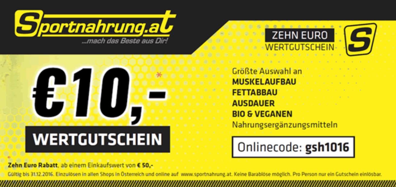 Sportnahrung.at - 10 € Gutschein ab 50 € + zusätzlich 5 € - 20% auf Alles