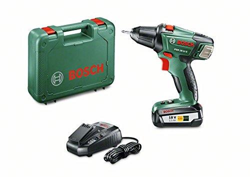 (Prime) Bosch DIY Akku-Bohrschrauber PSR 18 LI-2, Akku, Ladegerät, Doppelschrauberbit, Koffer