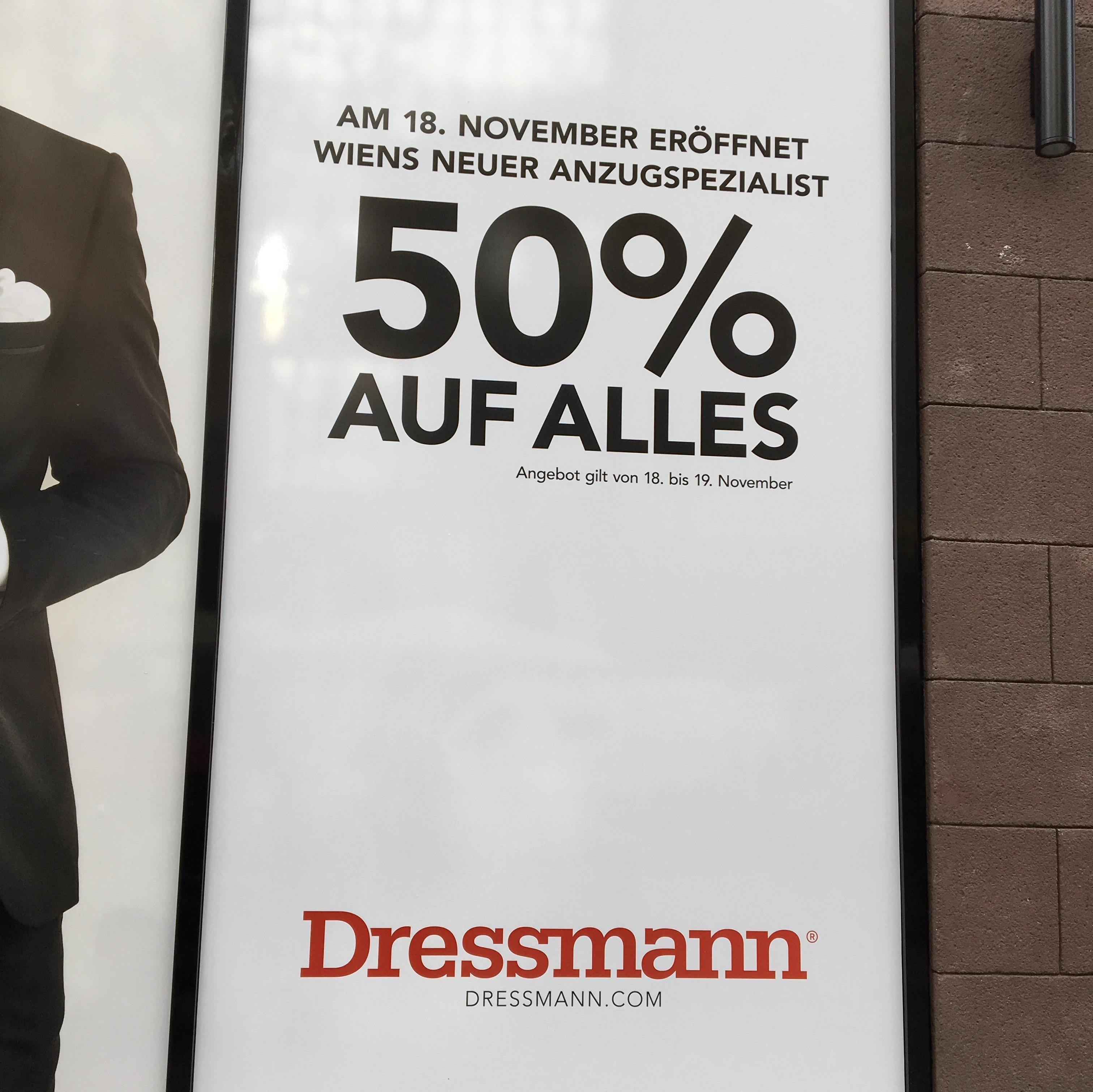 Dressmann Wien Mariahilferstraße 50% am 18./19.11