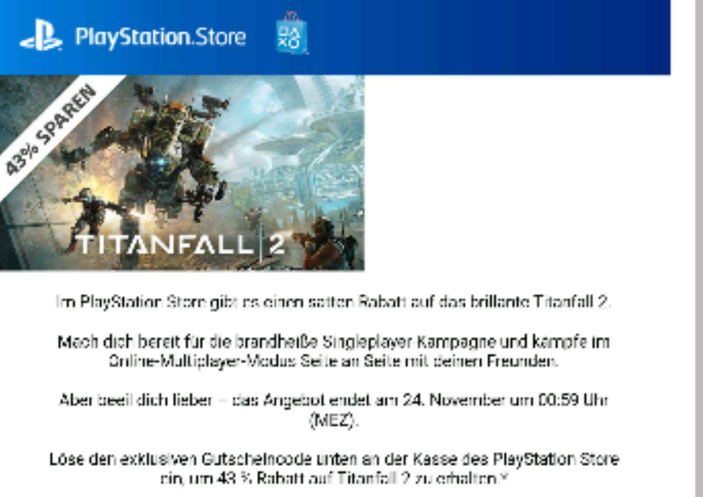 Titanfall 2 PS4 -43% Gutscheincode