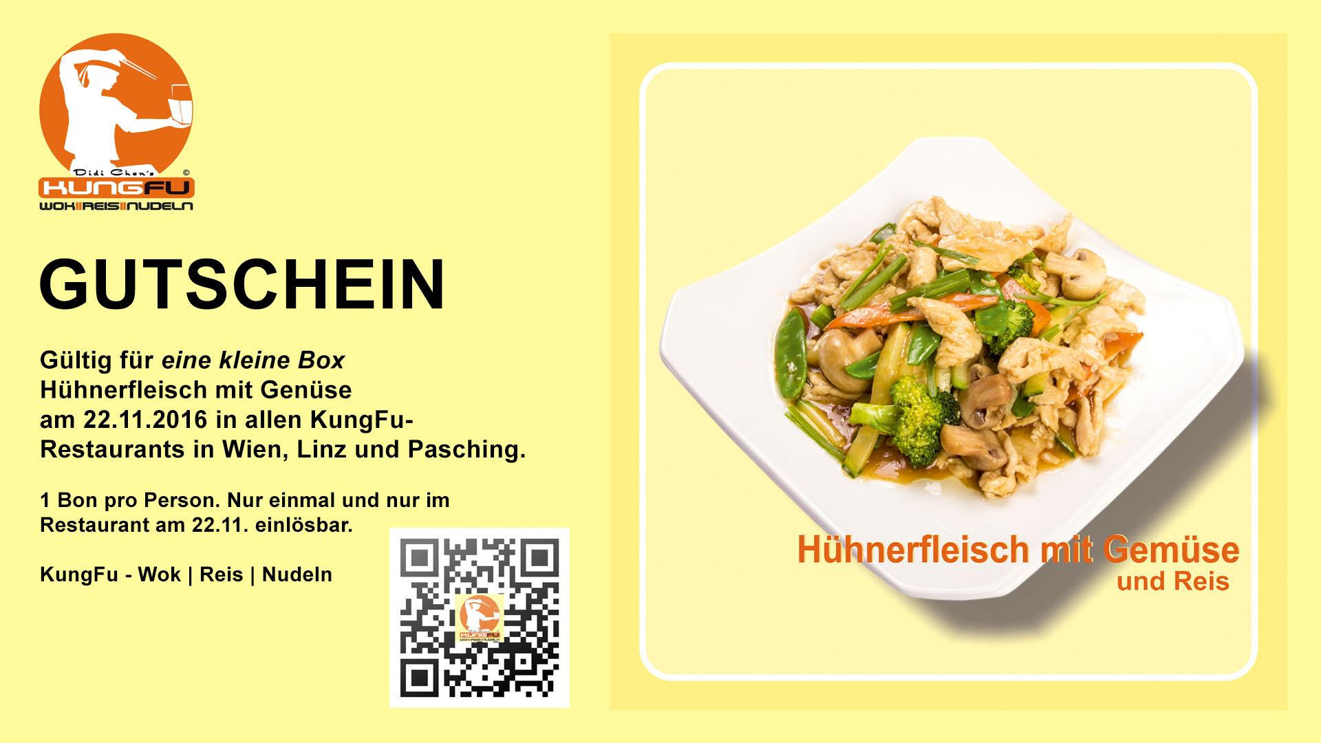 KungFu: Kleine Box Hühnerfleisch mit Gemüse komplett kostenlos! - Nur am 22. November