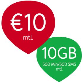 UPC Mobile: 10GB, 500sms/500min: 10 Euro oder 20 GB, 2000min/2000sms: 13,90 Euro