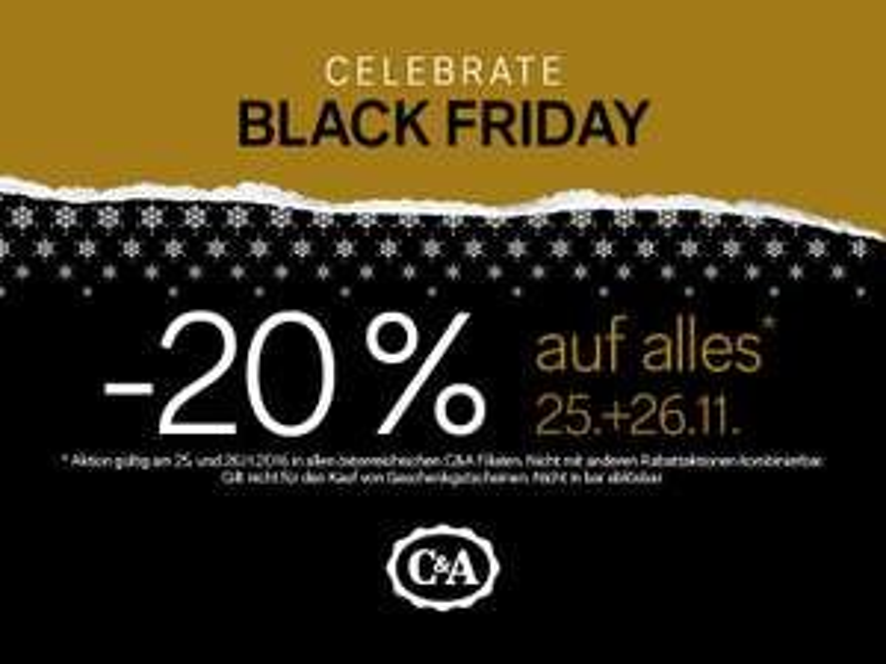 C&A: 20% Rabatt auf alles - nur am. 25. und 26. November