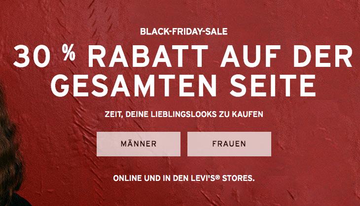Levi's: 30% Rabatt auf den kompletten Einkauf - nur bis zum 27. November