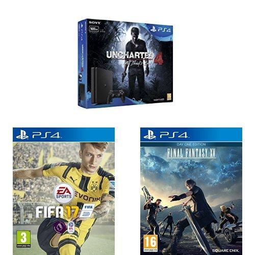 Amazon.co.uk - PlayStation 4 Slim 500 GB + Uncharted 4 + Fifa 17 + Final Fantasy XV - € 265 !