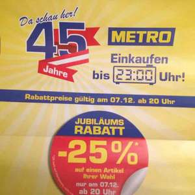Metro -25% auf einen Artikel
