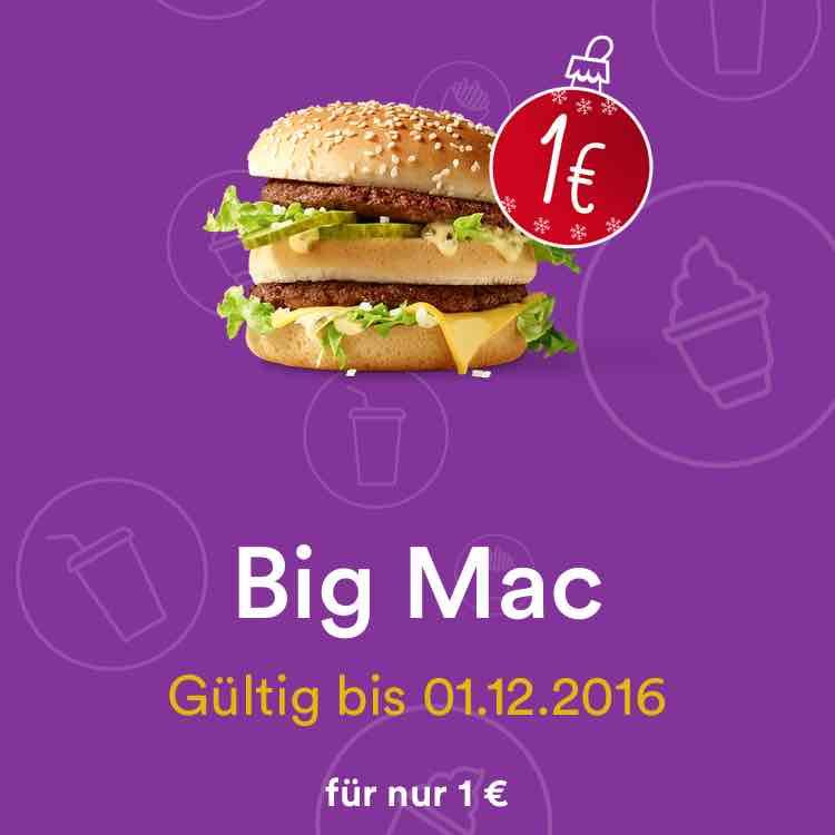 BIG MAC 1€! myMcDonald's Advent Angebot 1.12.2016