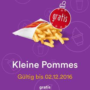 KLEINE POMMES GRATIS! myMcDonald's Advent Angebot 2.12.2016