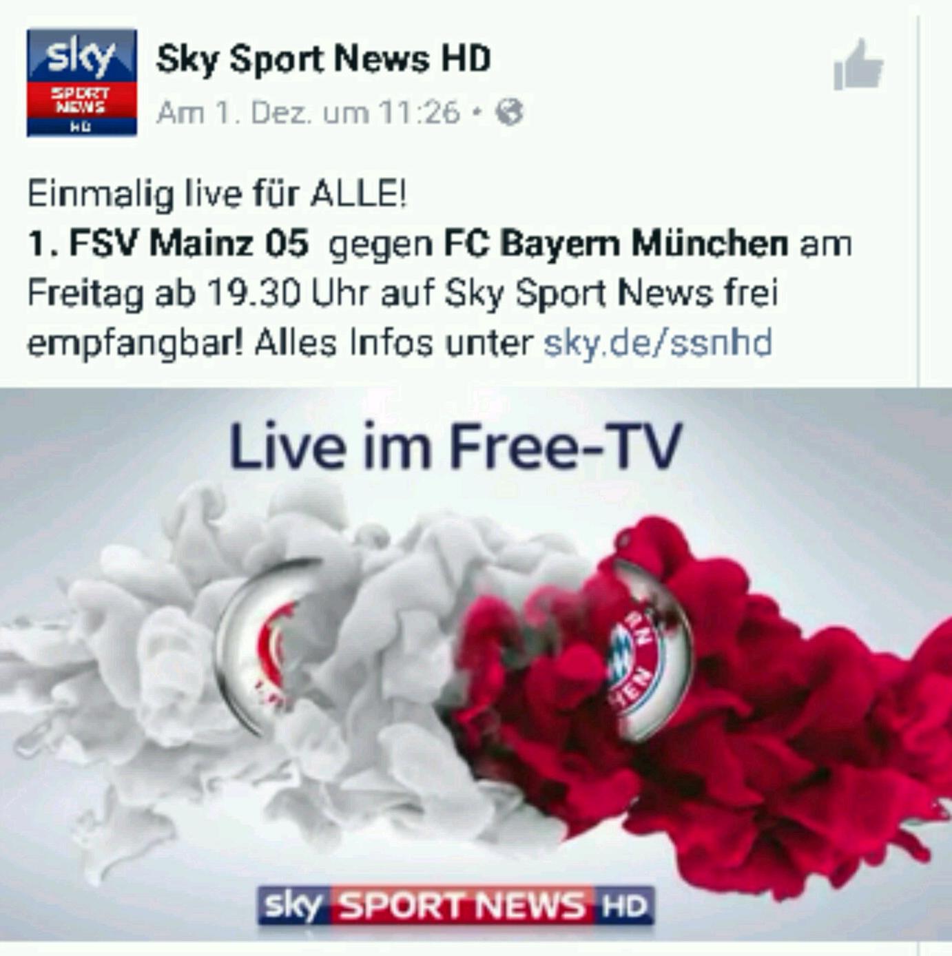 KOSTENLOS Mainz 05 - Bayern München auf SKY SPORT NEWS HD