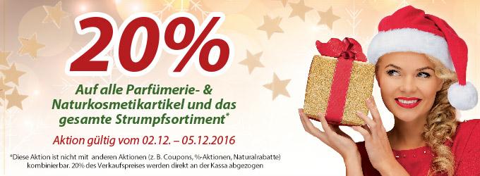 Müller 20% auf alle Parfümerie, kosmetikartikel und Strumpfhosensortiment