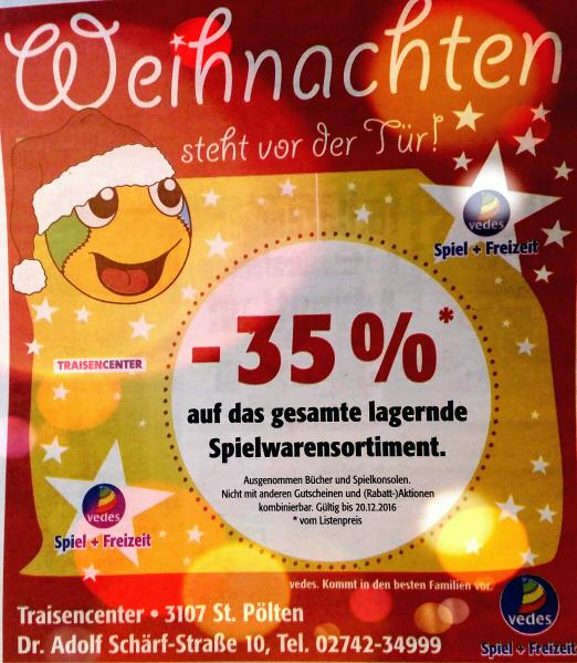 -35% auf ALLES im Vedes Traisencenter St. Pölten