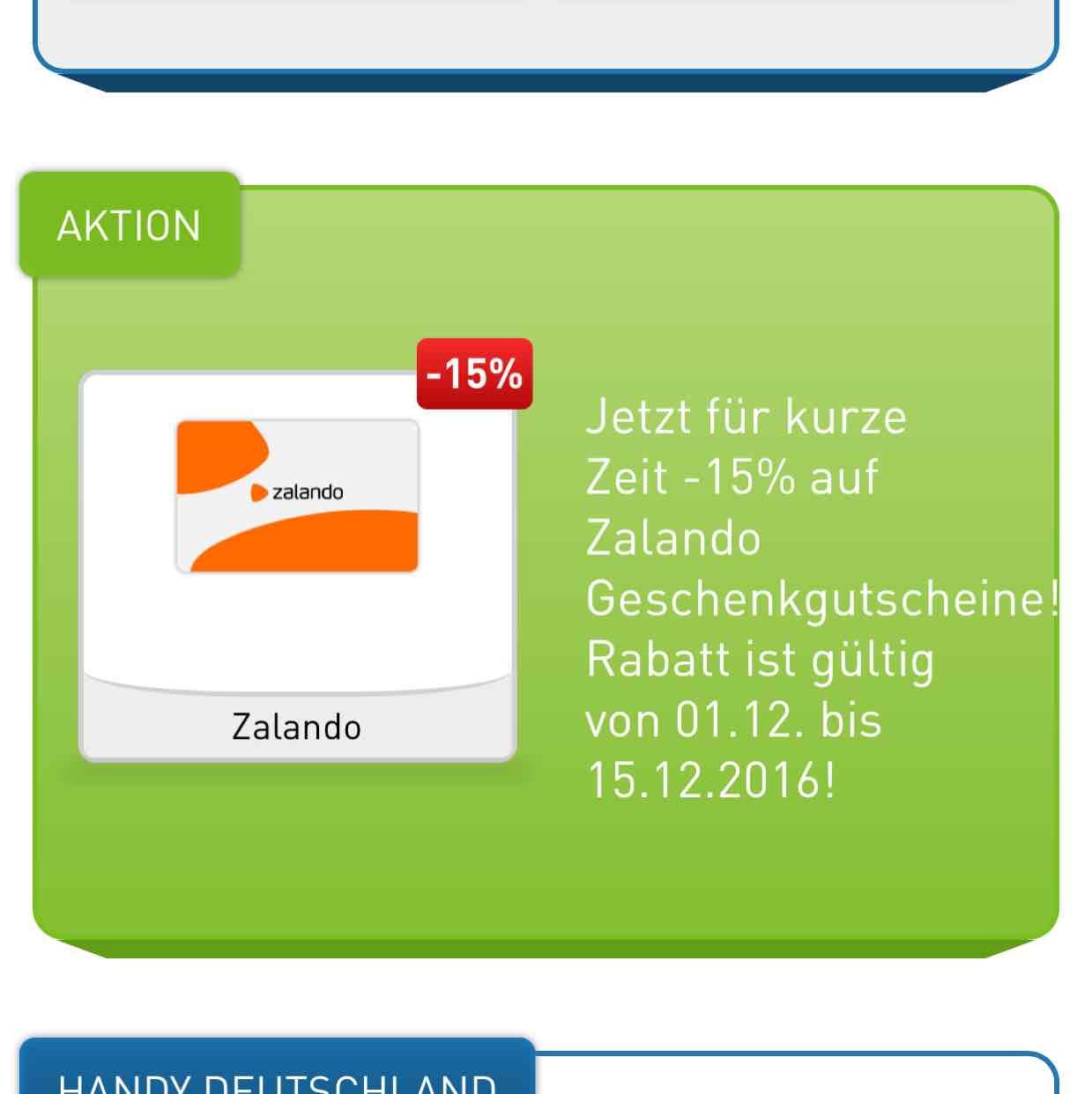 -15% auf digitale Zalando Geschenkgutscheine