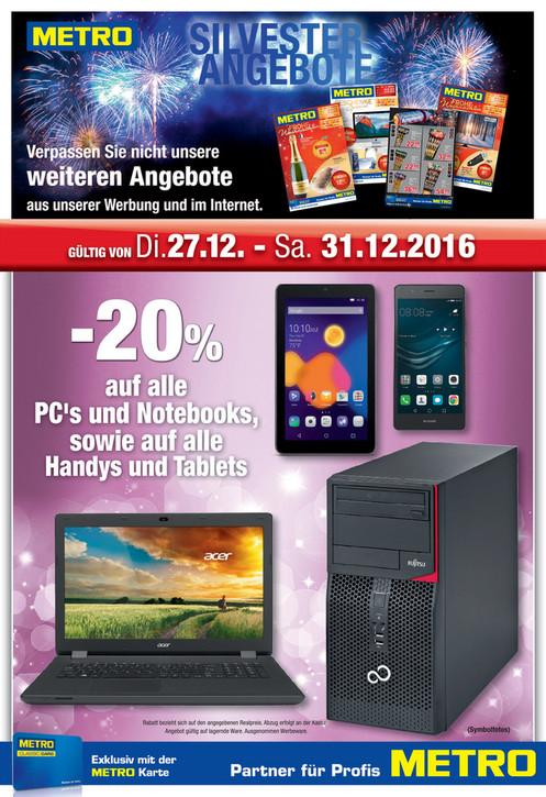 Metro: -20% Auf PC´s, Notebooks, Handys und Tablets vom 27.12-31.12.16