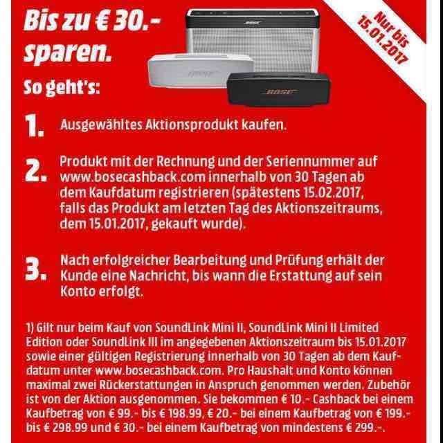 Bis zu 30 € Cashback auf ausgewählte BOSE Produkte!