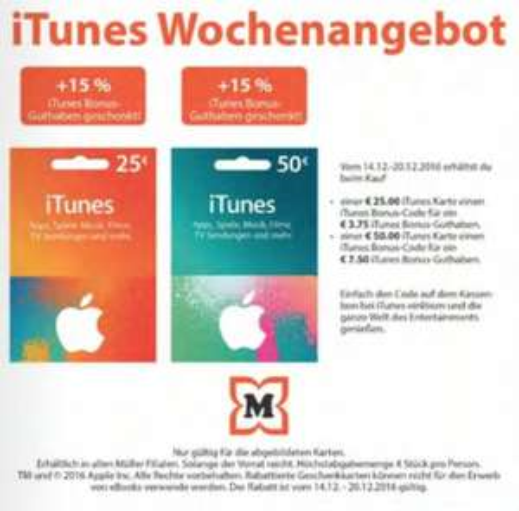 Müller: 25/50 € iTunes Karten kaufen + 15% Guthaben gratis dazu (13% sparen) - bis 20.12.2016