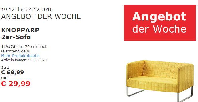 "[Ikea Vösendorf] Wochenangebot: ""Knopparp""  2er-Sofa um 29,99 statt 69,99"